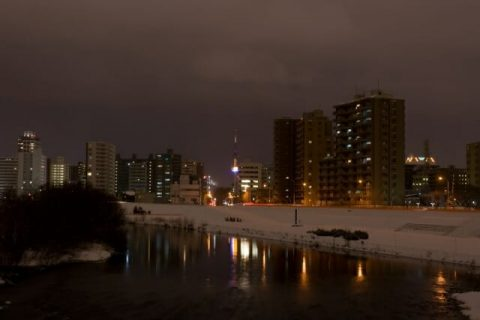 豊平川通の冬の夜景