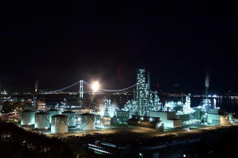 白鳥湾展望台からの工場夜景